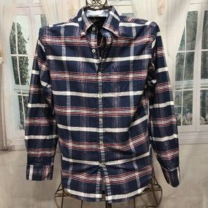 AMERICAN EAGLE Blue Plaid Long Sleeve Shirt S